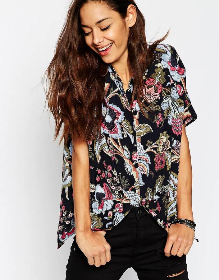 8428f084370b4 ... Asos Collection Short Sleeve Kimono Blouse In Black Floral Print ...