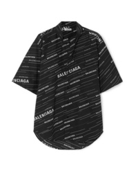 Balenciaga Oversized Printed Cotton Poplin Shirt