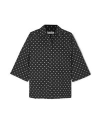Balenciaga Vareuse Oversized Printed Cotton Poplin Shirt