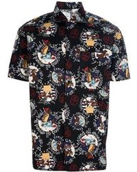 Black Print Short Sleeve Shirt