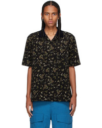 Sacai Black Floral Print Short Sleeve Shirt