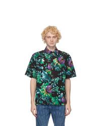 MSGM Black Monster Plant Short Sleeve Shirt
