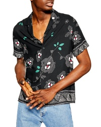 Topman Floral Short Sleeve Button Up Shirt