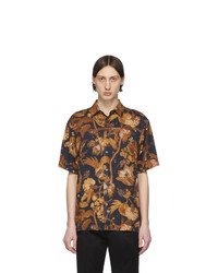 Paul Smith Navy And Tan Floral Goliath Short Sleeve Shirt