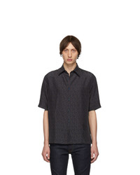 Fendi Navy Silk Ff Shirt
