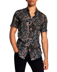 River Island Painted Feather Short Sleeve Shirt