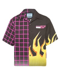 Prada Panelled Flame Print Shirt