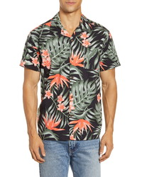 Hurley Party Wave Tropical Short Sleeve Button Up Camp Shirt