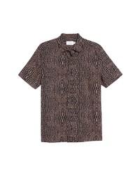 Topman Pink Gator Short Sleeve Button Up Shirt