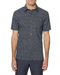 Hickey Freeman Print Barclay Short Sleeve Button Up Shirt