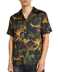 River Island Revere Scarf Print Short Sleeve Button Up Shirt