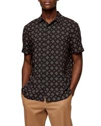 Topman Tile Print Short Sleeve Button Up Shirt