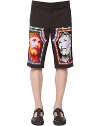 Givenchy Jesus Print Cotton Denim Bermuda Shorts