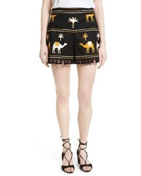 Kate Spade New York Tassel Trim Camel Print Shorts