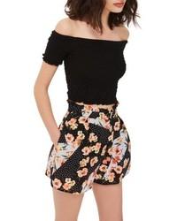 Topshop Pansy Spot Print Ruffle Waist Shorts