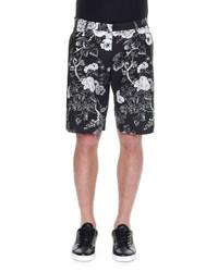 Dolce & Gabbana Rose Print Bermuda Shorts Blackwhite