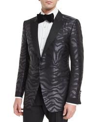 Tom Ford Oconnor Base Tonal Zebra Print Silk Sport Jacket Black
