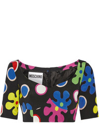 Moschino Cropped Printed Silk Top Black