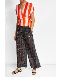 Diane von Furstenberg Printed Cotton Pants With Silk
