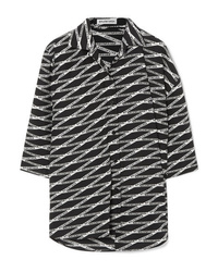 Balenciaga Oversized Asymmetric Printed Silk Shirt