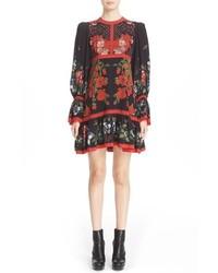 Alexander McQueen Floral Print Silk Dress