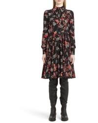 Valentino Lotus Print Tie Neck Dress