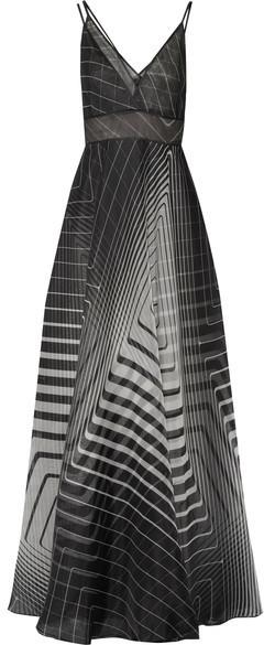 9cc90ffd2312 Lela Rose Layered Printed Silk Organza Gown Black, $5,995 | NET-A ...