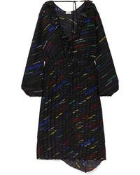 Balenciaga Ruffled Printed Silk De Chine Midi Dress