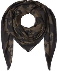 Black Print Silk Scarf