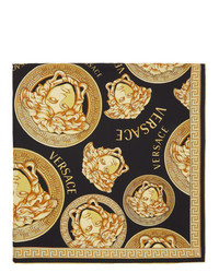 Versace Black And Gold Silk Medusa Amplified Scarf
