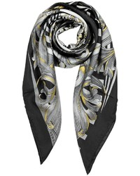 Versace Black And Grey Optical Print Silk Square Scarf