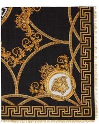 Versace Black Gold Barocco Scarf