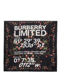 Burberry Black Silk Montage Print Scarf