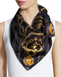 Roberto Cavalli Chain Print Silk Scarf Black