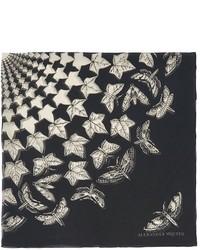 Nobrand Ivy And Moth Print Silk Chiffon Scarf