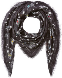 Alexander McQueen Jeweled Print Scarf With Silk