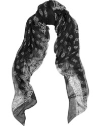 Saint Laurent Paisley Print Silk Chiffon Scarf