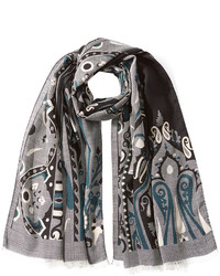 Etro Printed Wool Scarf With Silk