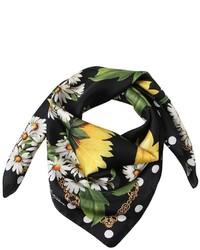 Dolce & Gabbana Sunflower Polka Dot Printed Silk Scarf