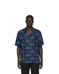Valentino Black And Blue Undercover Edition Silk Ufo Logo Shirt