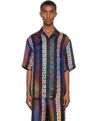 Versace Black Silk Neon Greca Short Sleeve Shirt