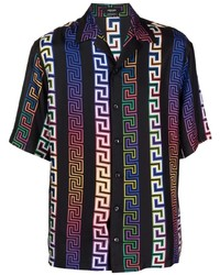 Versace Greca Neon Print Silk Shirt