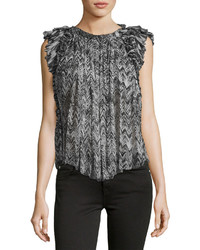 Graphic print sleeveless silk top black medium 3705588