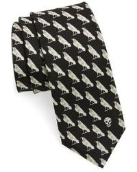 Alexander McQueen Mini Raven Print Silk Tie