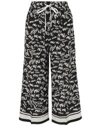 Miu Miu Cropped Printed Silk De Chine Wide Leg Pants