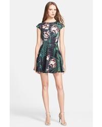 Black Print Skater Dress