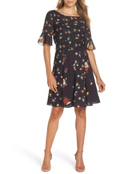 French Connection Baudet Print Fit Flare Dress