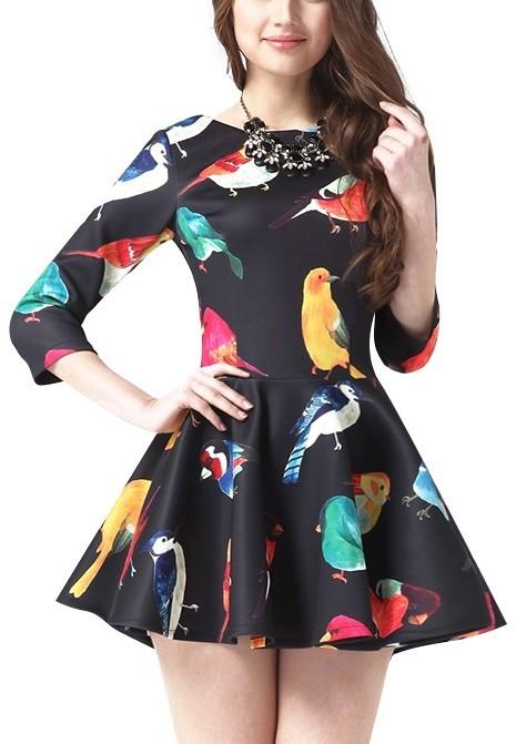 ... Black Print Skater Dresses ChicNova Bird Print Half Sleeves Skater Dress f2f72321f