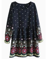 Choies polka dot floral black dress medium 56106