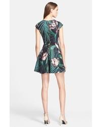b46490f92c7986 ... Ted Baker London Florell Palm Floral Print Neoprene Skater Dress ...